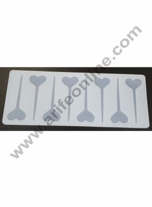 Cake Decor Silicon 8 in 1 Heart Pin Shape Chocolate Garnishing Mould Cake Insert Decoration Mould