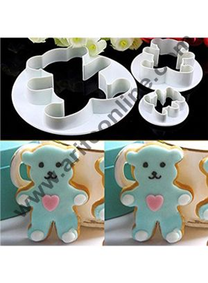 Cake Decor 3Pcs/Set Cute Teddy Bear Shape Fondant Cookie Cutters Plunger Baking Pastry Mold Decorating Tools