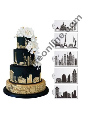 Cake Decor 5Pcs Building Lace Cake Stencils Wedding Cake Cookie Border Side Decoration Tool