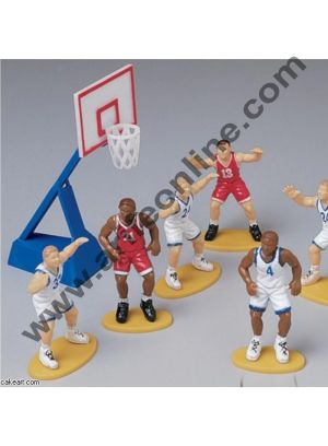 Cake Decor Basketball Cake Topper 4 Players And 1 Basket Set