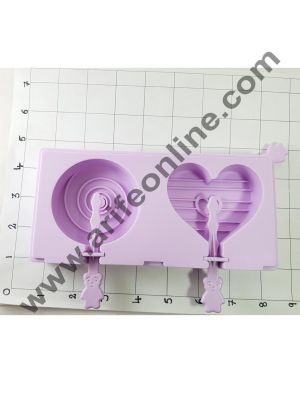 Cake Decor 2 in 1 Heart and Circle Design Silicone Popsicle And Cakesicle Molds Tools With Dust Cover Sticks Frozen Mold Kitchen Accessories
