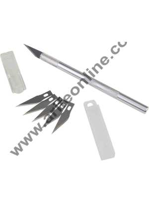 Cake Decor Detail Pen Knife With 5 Interchangeable Sharp Blades, Crafts Steel Knife Cutter Tool with 5 Blades.