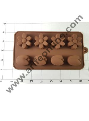 Cake Decor Silicon 8 Cavity Lily N Flower Shape Brown Chocolate Mould, Ice Mould, Chocolate Decorating Mould