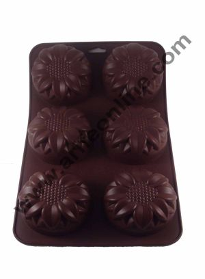 Cake Decor 6 in 1 Silicon Bakeware Sunflower Shape Cupcake Moulds Muffin Mould