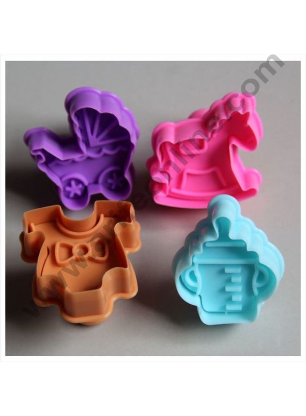 Cake Decor 4 Pc Baby Shower Plastic Biscuit Cutter Plunger Cutter 1