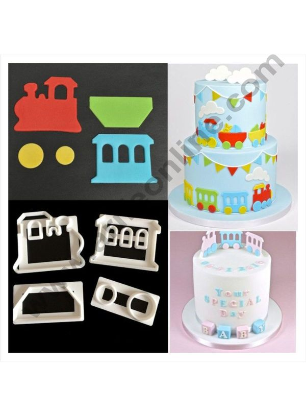 Cake Decor 4 Pc Train Theme Plastic Fondant Cutter Gumpaste Cutter 1