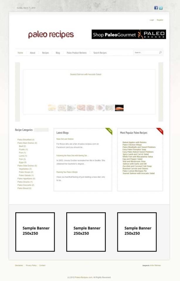 Recipe site Using Joomla