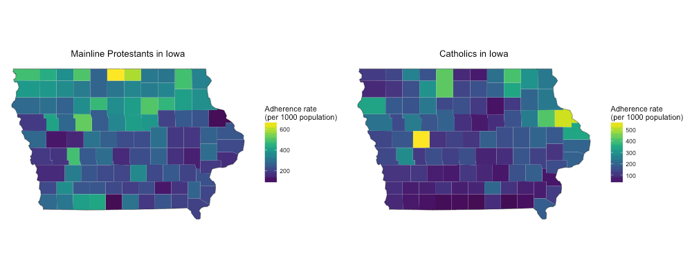Mainline Protestants and Catholics in Iowa