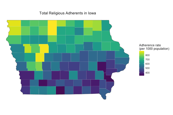 Total Religious Adherence in Iowa