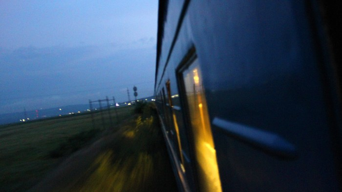 A night shot from the window of a train in Eastern Europe.