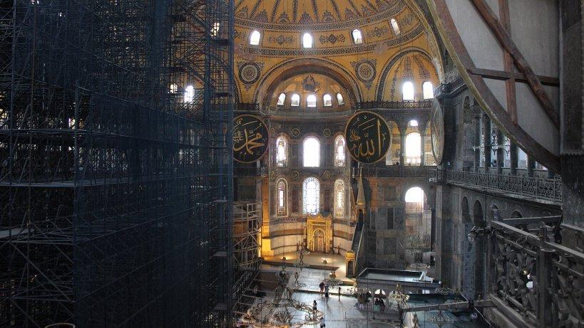 Hagia Sofia interior from balcony under reconstruction.
