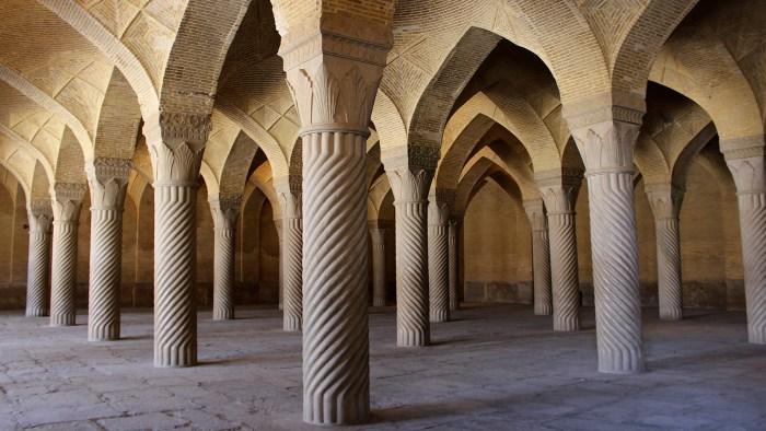 Pillars inside the Vakil Mosque in Shiraz.