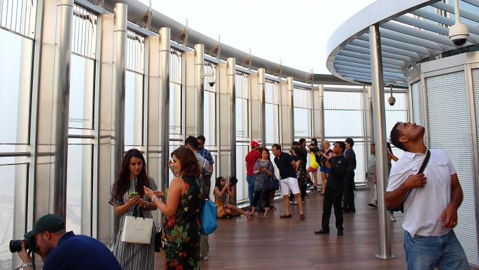 Outside at the Burj Khalifa observation deck.