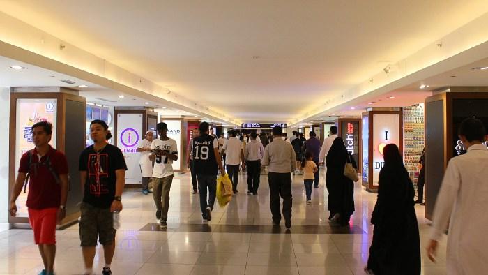 Shoppers inside Dubai Mall.