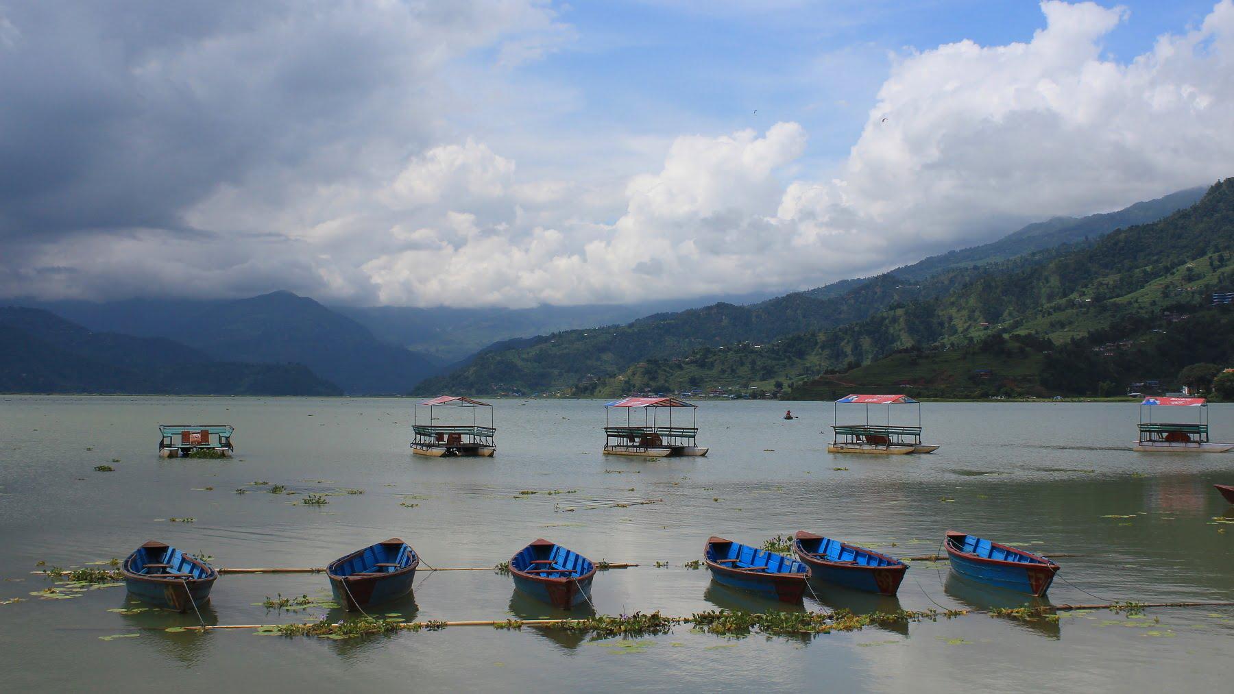 Boats on the Phewa Lake, Pokhara.