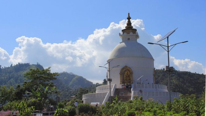 The World Peace Pagoda of Pokhara.