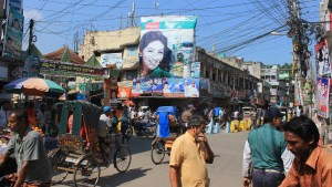 People of Bangladesh. Crowded street junction in Khulna, Bangladesh.