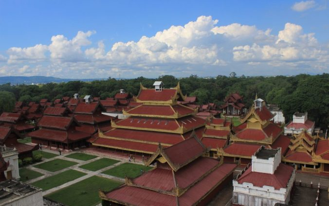 Picture Myanmar. The Hluttaw or Supreme Court in Mandalay Palace and other main buildings of the site from a view tower in the southeast corner of the area.