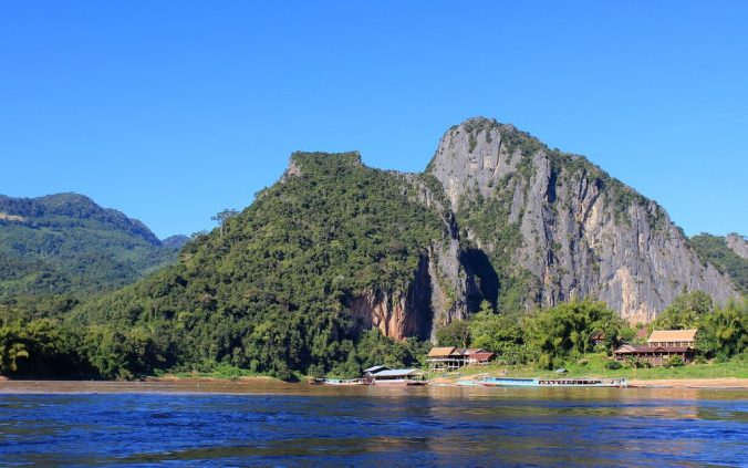 A steep hill on the coast of Mekong river. The boat ride to Luang Prabang offers some spectacular views along the Mekong river.