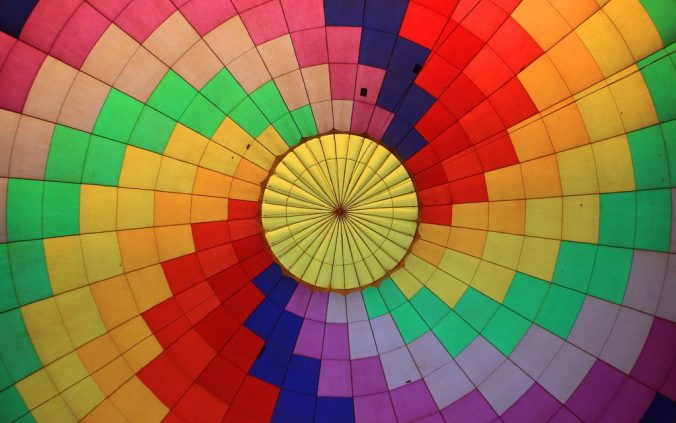 The inside of a hot air balloon from below.