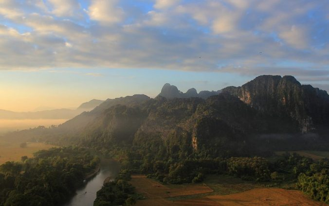 The hills near Vang Vieng during sunrise.