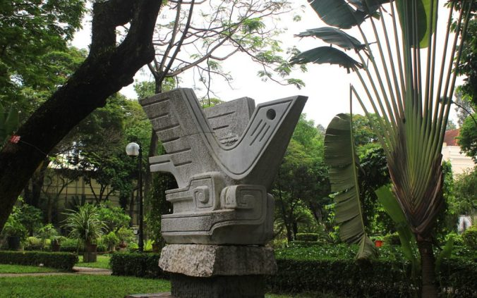 A peace pigeon statue in a park in Ho Chi Minh City.