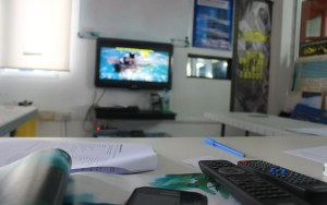 Studying the theory of PADI Open Water Course at the Poni Divers classroom.