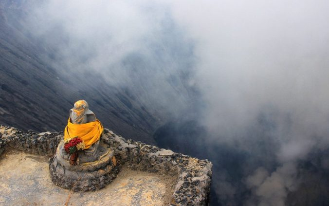 A shrine at the edge of the crater.