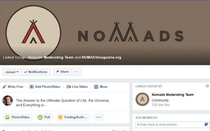 Screenshot from NOMADS - a life of alternative travel Facebook group