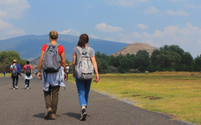 Walking on a day trip to Teotihuacan.