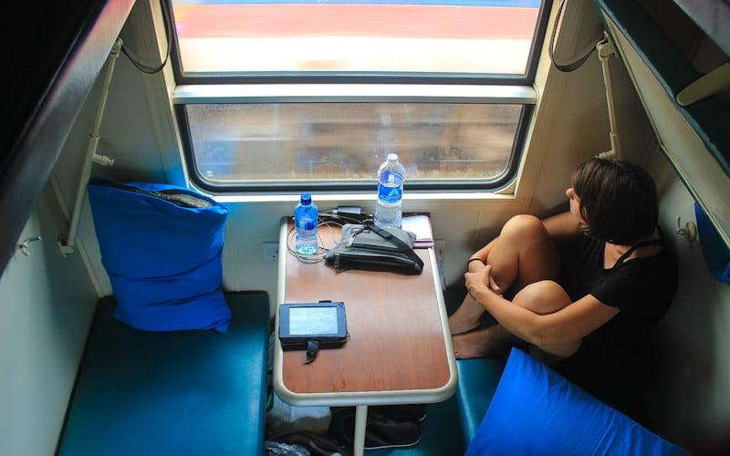 TAZARA train from Tanzania to Zambia or Zambia to Tanzania. Second class train compartment with six berths.