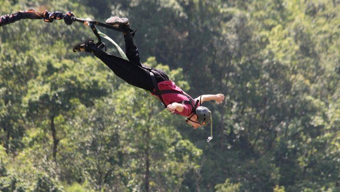 Bungee jumping in Pokhara, Nepal