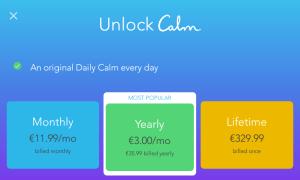Calm meditation app pricing in 2019