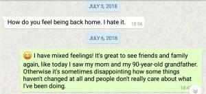 How do you feel back home. How does it feel to come home from a long trip. WhatsApp message.