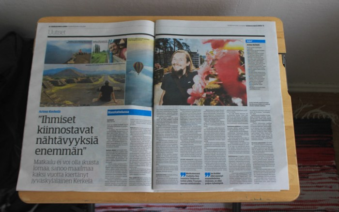 Keskisuomalainen newspaper interview about my 2-year trip around the world.