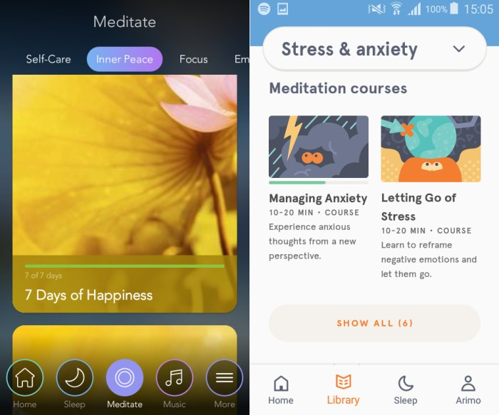 Navigating the menus of Headspace and Calm.