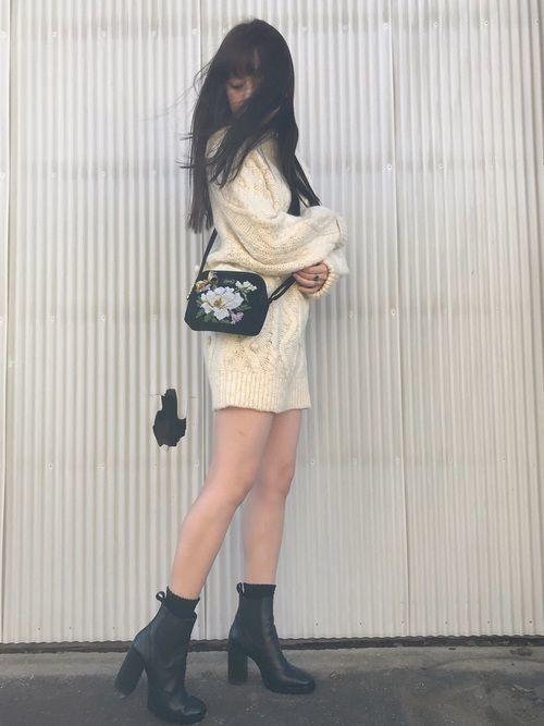 sweater dress shirt gown, black boots japanese fashion - soyvirgo.com