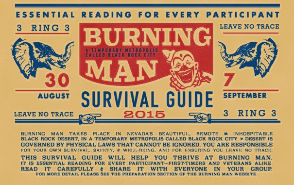 burning man survival guide periodical design, newsletter design