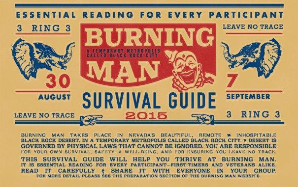 burning man survival guide periodical design, newsletter design