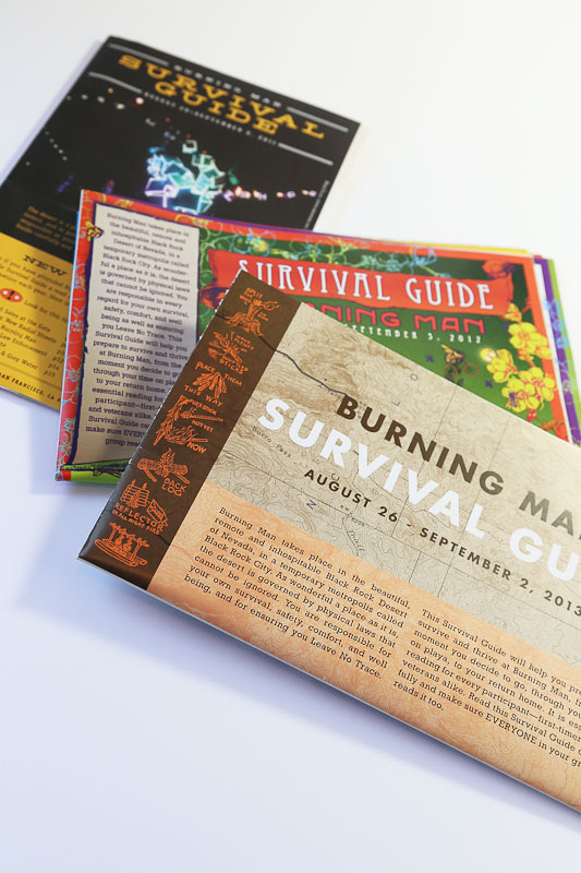 Burning Man Survival Guide print and periodical design