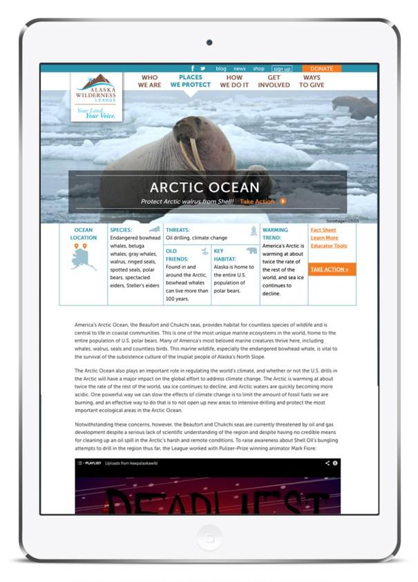 Alaska Wilderness League website design