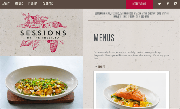 sessions restaurant web design