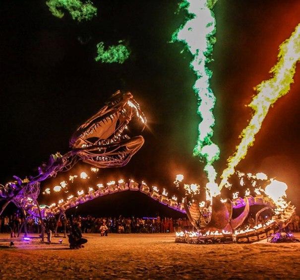 Serpent Mother by @flaminglotusgirls returns to @burningman #burningman2015 #fire #beauty