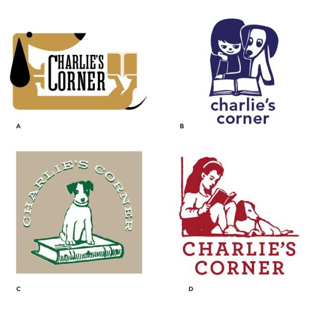 Play Logo Survivor- which logo did the client select? Charlie's Corner is a children's literacy program and bookstore in Noe Valley, SF. These were the 4 concepts I presented, can you guess which is their new logo? #graphicdesign #logodesign #logo