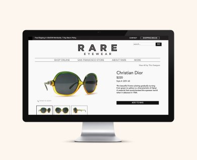 Website design for Valencia Street shop Rare Eyewear