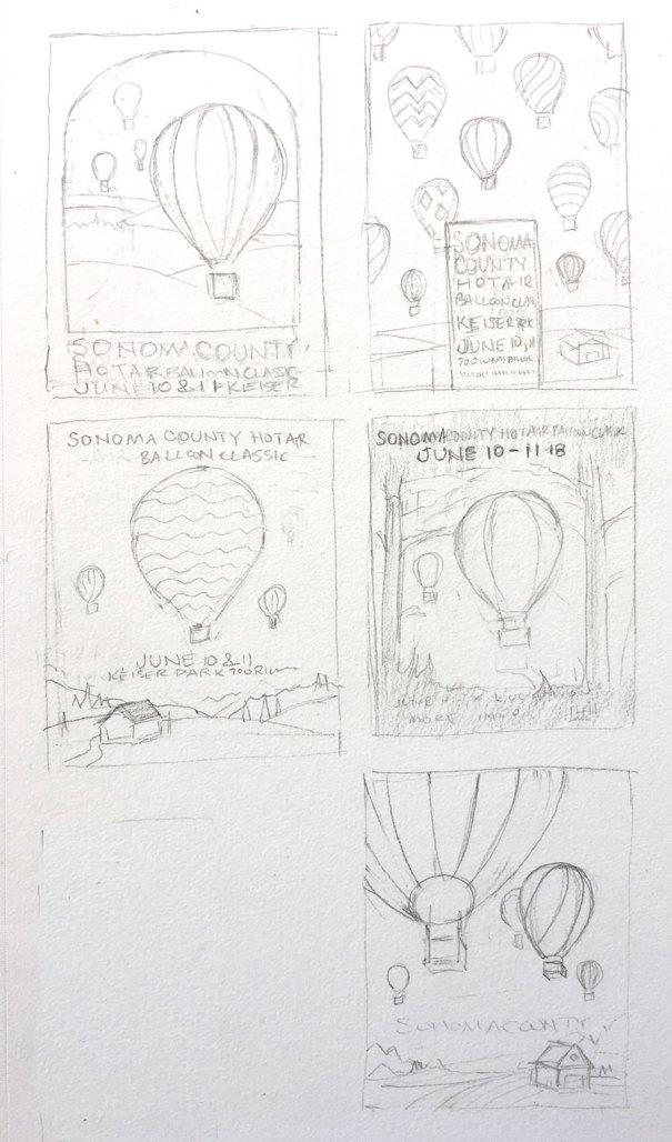 design concepts for hot air balloon poster