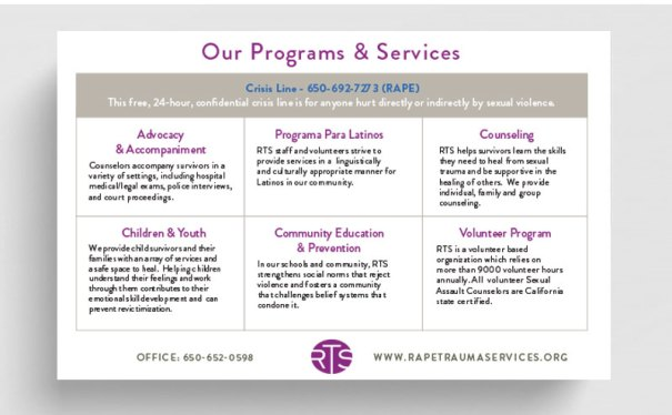 RTS infographic design and printed flyer