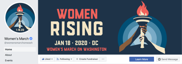 Women Rising facebook graphics design