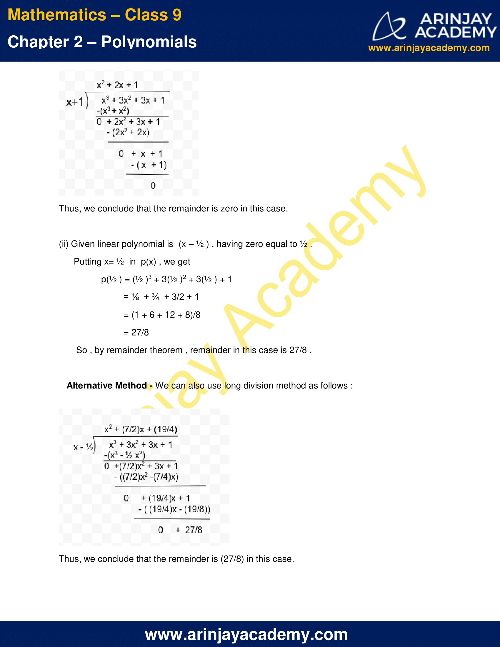 hight resolution of NCERT Solutions for Class 9 Maths Chapter 2 Exercise 2.3 - Polynomials