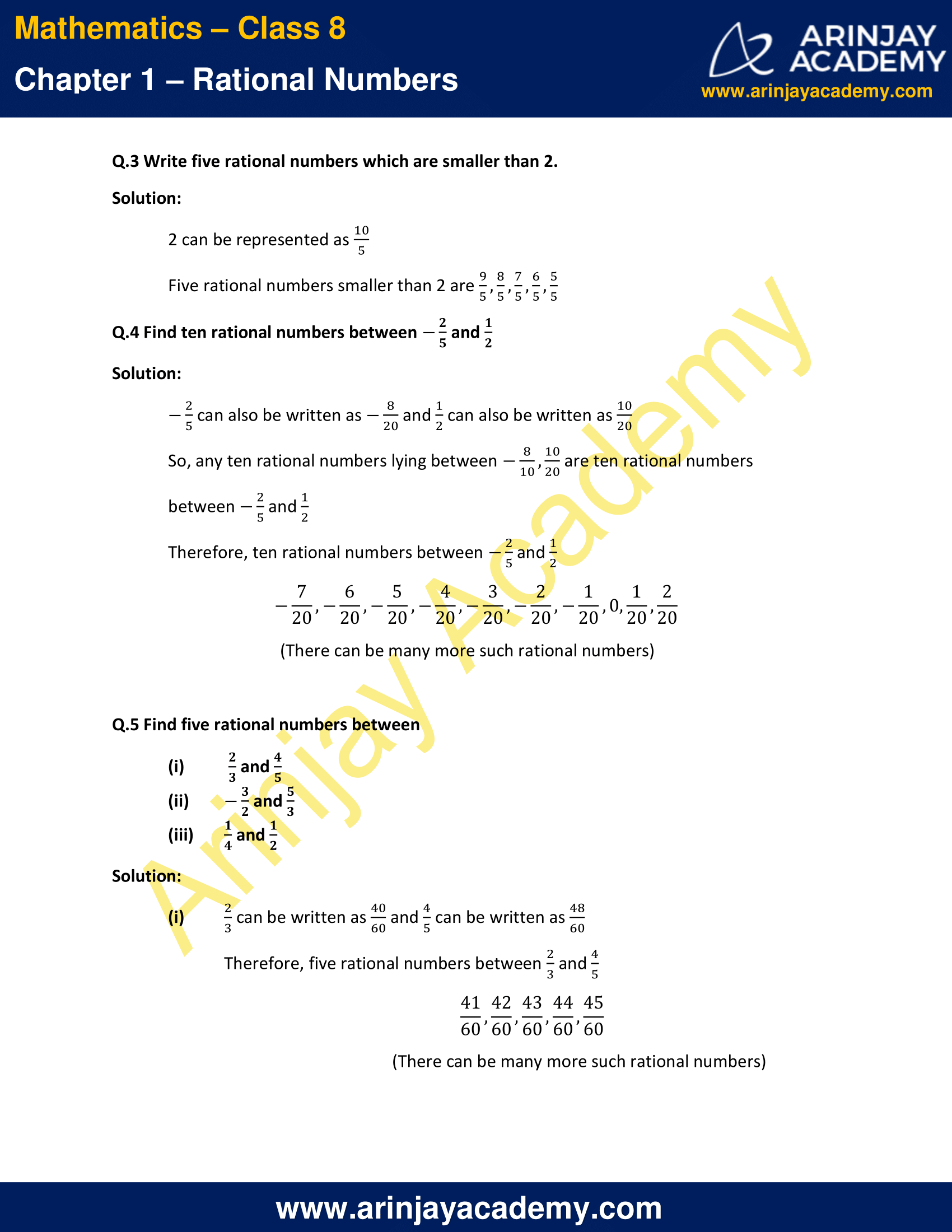 hight resolution of NCERT Solutions for Class 8 Maths Chapter 1 Exercise 1.2 Rational Numbers